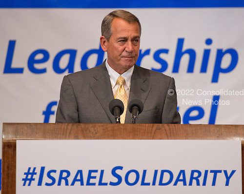 The Speaker of the United States House of Representatives John Boehner (Republican of Ohio) makes remarks before the &ldquo;National Leadership Assembly for Israel,&rdquo; convened by the Conference of Presidents of Major American Jewish Organizations in Washington, D.C. on Monday, July 28, 2014.  The assembly attracted 600 Jewish leaders from around the country to let the people of Israel know that they are not alone, as they face the continuing onslaught of terrorist attacks, with missiles launched at civilian populations by Hamas and other terrorists in Gaza.<br /> Credit: Ron Sachs