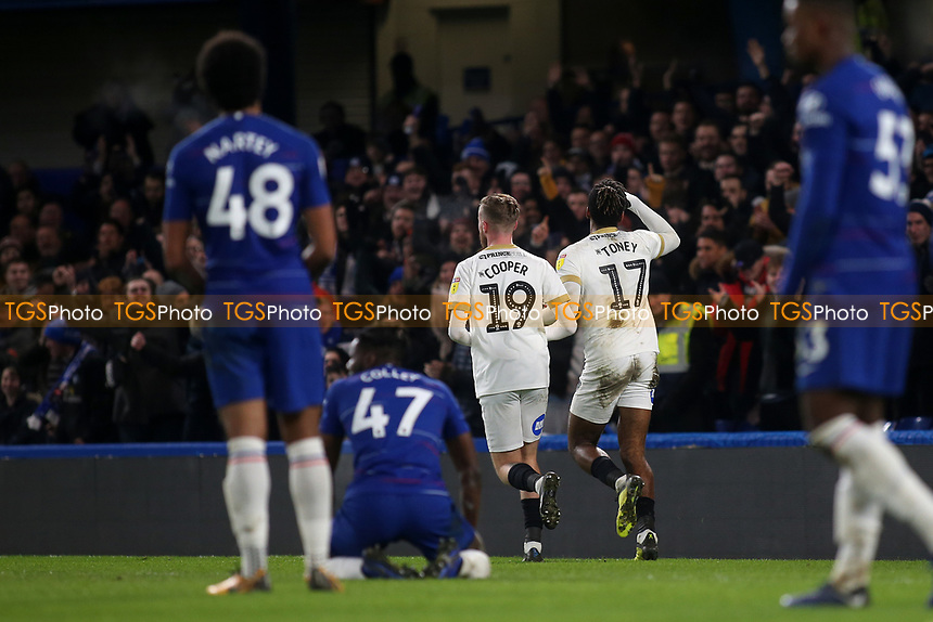 Ivan Toney celebrates scoring Peterborough's second goal during Chelsea Under-21 vs Peterborough United, Checkatrade Trophy Football at Stamford Bridge on 9th January 2019