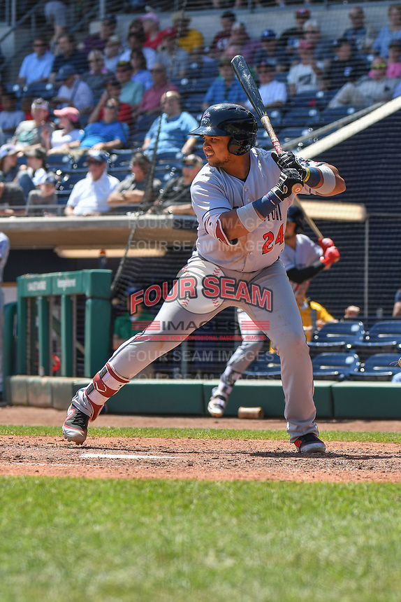Jhoan Urena (24) of the Binghamton Rumble Ponies bats during a game against the Hartford Yard Goats at Dunkin Donuts Park on May 9, 2018 in Hartford, Connecticut. (Gregory Vasil/Four Seam Images)