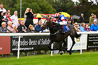 Winner of Dartmouth General Contractors Ltd Handicap (Div 2) Love and be Loved ridden by George Wood and trained by John Flint during Afternoon Racing at Salisbury Racecourse on 7th August 2017