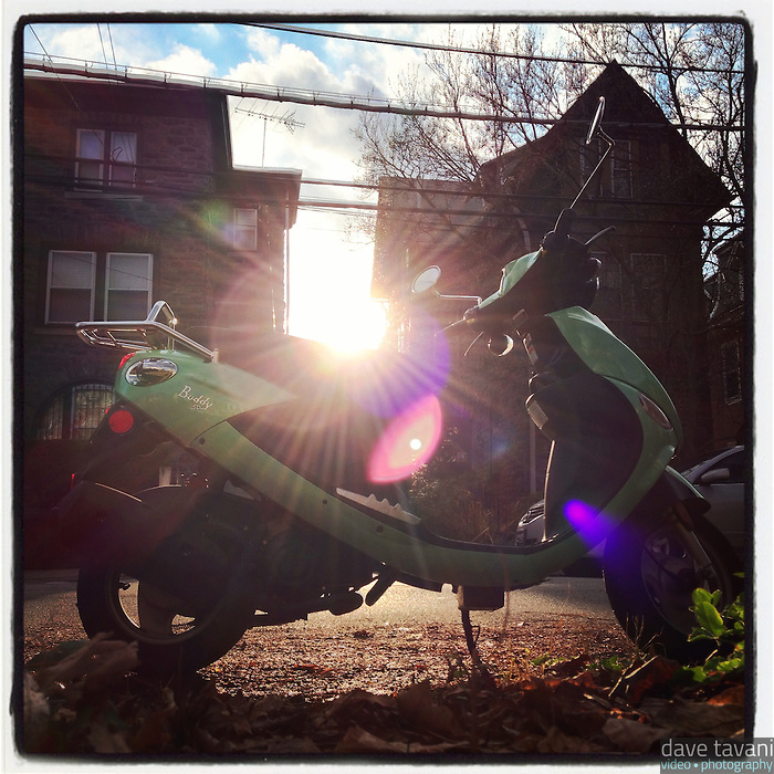My scooter sits in the sun on Morris Street in the Germantown section of Philadelphia, December 11, 2012.