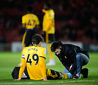 Wolverhampton Wanderers U21's Max Kilman receives treatment for an injury<br /> <br /> Photographer Chris Vaughan/CameraSport<br /> <br /> The EFL Checkatrade Trophy Northern Group H - Lincoln City v Wolverhampton Wanderers U21 - Tuesday 6th November 2018 - Sincil Bank - Lincoln<br />  <br /> World Copyright © 2018 CameraSport. All rights reserved. 43 Linden Ave. Countesthorpe. Leicester. England. LE8 5PG - Tel: +44 (0) 116 277 4147 - admin@camerasport.com - www.camerasport.com