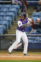 Binghamton Rumble Ponies shortstop Gustavo Nunez (10) at bat during a game against the Akron RubberDucks on May 12, 2017 at NYSEG Stadium in Binghamton, New York.  Akron defeated Binghamton 5-1.  (Mike Janes/Four Seam Images)