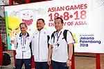 (L-R)  Hiroshi Takeuchi,  Yasuhiro Yamashita, Kenji Kasahara (JPN), <br /> AUGUST 16, 2018 : Welcome Ceremony for the Japanese delegation at Athlete's Village during the 2018 Jakarta Palembang Asian Games in Jakarta, Indonesia. (Photo by MATSUO.K/AFLO SPORT)