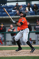 Jose Rojas (3) of the Inland Empire 66ers bats against the Rancho Cucamonga Quakes at LoanMart Field on May 7, 2017 in Rancho Cucamonga, California. Rancho Cucamonga defeated Inland Empire, 6-0. (Larry Goren/Four Seam Images)