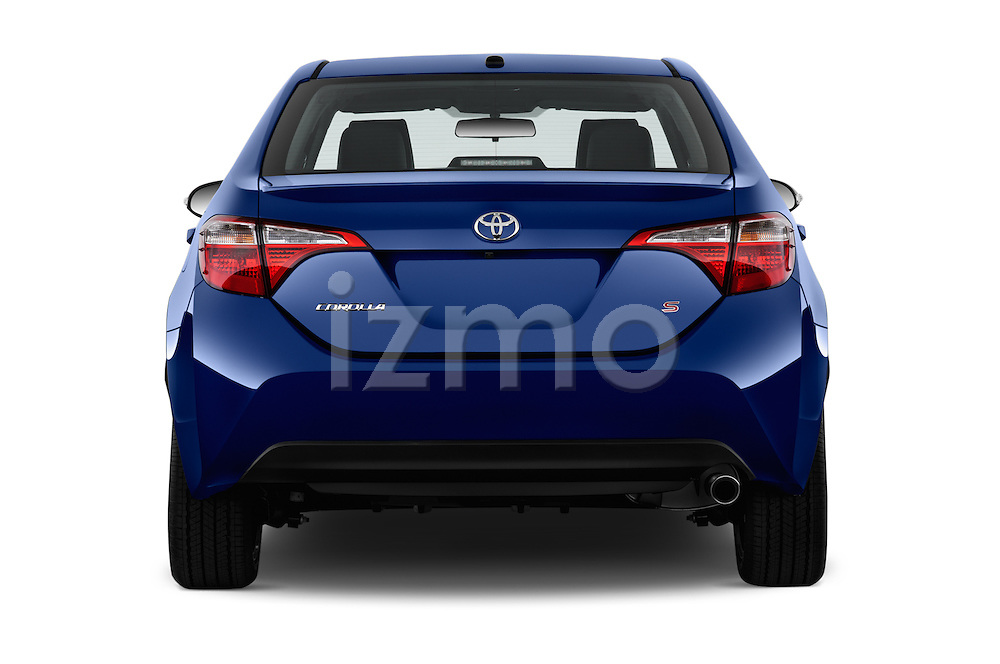 Straight rear view of 2016 Toyota Corolla S Premium 4 Door Sedan Rear View  stock images