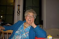 Polish grandmother enjoying a relaxing moment.  Zawady  Central Poland