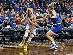 SIOUX FALLS, SD - NOVEMBER 15:South Dakota State Jackrabbits's Tylee Irwin #21 drives against Kamryn Heinz #32 from Dakota Wesleyan during their game Friday evening at the Sanford Pentagon in Sioux Falls, SD. (Photo by Dave Eggen/Inertia)