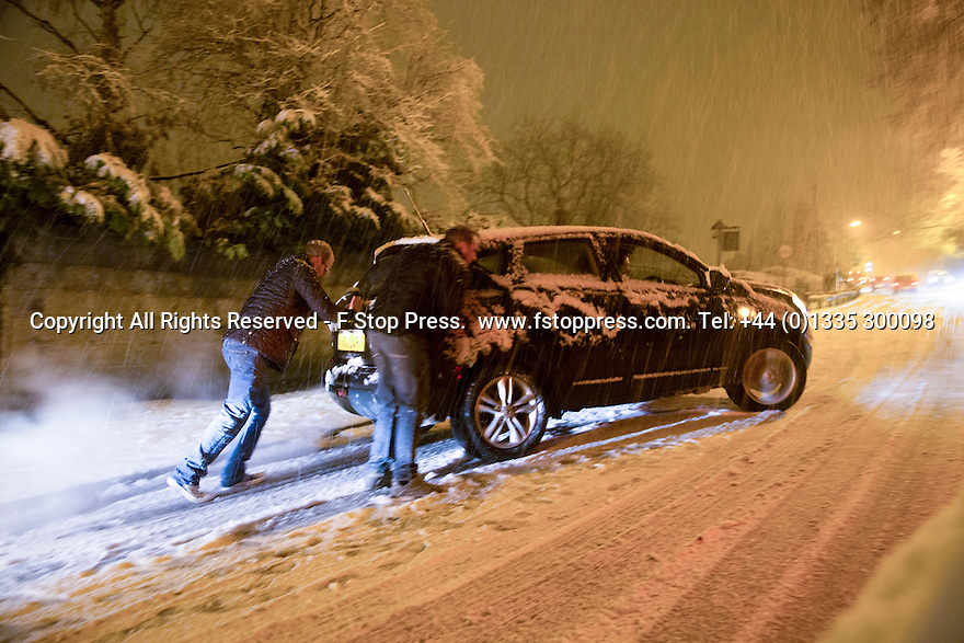 26/12/14<br /> <br /> Heavy snowfall blocks roads in and around Ashbourne in Derbyshire this evening.<br /> <br /> <br /> All Rights Reserved - F Stop Press. www.fstoppress.com. Tel: +44 (0)1335 300098