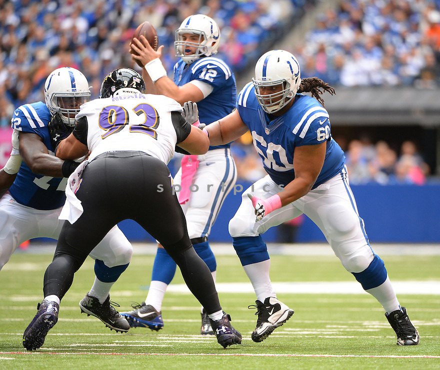 Indianapolis Colts Lance Louis (60) during a game against the Baltimore Ravens on October 5, 2014 at Lucas Oil Stadium in Indianapolis, IN. The Colts beat the Ravens 20-13.