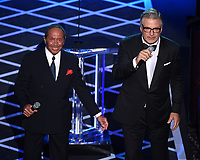 "BEVERLY HILLS - SEPTEMBER 7: Paul Anka and Alec Baldwin appear onstage at the ""Comedy Central Roast of Alec Baldwin"" at the Saban Theatre on September 7, 2019 in Beverly Hills, California. (Photo by Frank Micelotta/PictureGroup)"