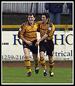 18/01/2003                   Copyright Pic : James Stewart.File Name : stewart-alloa v qots11.ANDY SEATON (LEFT) IS CONGRATULATED BY IAN LITTLE AFTER HE SCORED ALLOA'S FIRST GOAL.....James Stewart Photo Agency, 19 Carronlea Drive, Falkirk. FK2 8DN      Vat Reg No. 607 6932 25.Office     : +44 (0)1324 570906     .Mobile  : +44 (0)7721 416997.Fax         :  +44 (0)1324 570906.E-mail  :  jim@jspa.co.uk.If you require further information then contact Jim Stewart on any of the numbers above.........