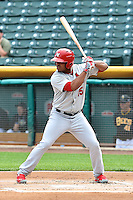 Oscar Taveras (15) of the Memphis Redbirds at bat against the Salt Lake Bees at Smith's Ballpark on June 18, 2014 in Salt Lake City, Utah.  (Stephen Smith/Four Seam Images)