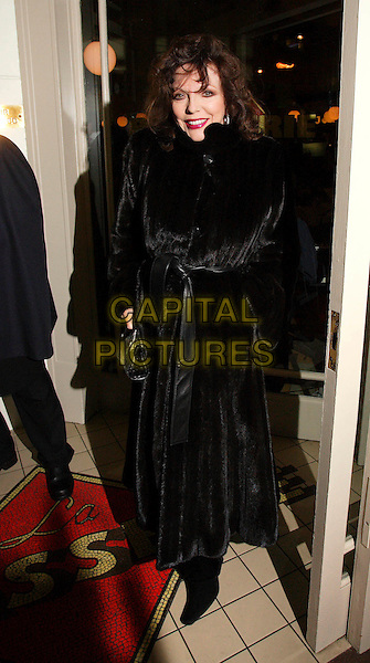 JOAN COLLINS.Arrives at the Re Launch Party for La Brasserie Restaurant in Kensington, London,  England, .November 13th 2007.full length black fur coat belted.CAP/ROS.©Steve Ross/Capital Pictures