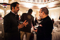 (L-R) Maharaj Narendra Singh of Jaipur and Nirav Modi share a conversation at the OzFest Gala Dinner in the Jaipur City Palace, in Rajasthan, India on 10 January 2013. Photo by Suzanne Lee