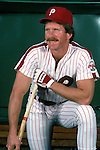 PHILADELPHIA:  Mike Schmidt of the Philadelphia Phillies poses during an MLB game at Veterans Stadium in Philadelphia, Pennsylvania. Schmidt played for the Philadelphia Phillies from 1972-1989. (Photo by Rich Pilling)
