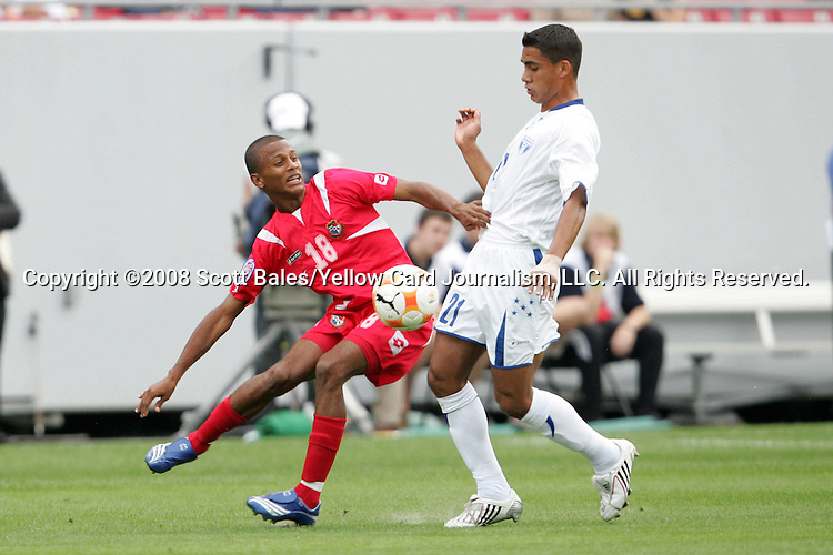 11 March 2008: Reggie Arosemena (PAN) (18) and Oscar Morales (HON) (21) challenge for the ball. The Honduras U-23 Men's National Team defeated the Panama U-23 Men's National Team 1-0 at Raymond James Stadium in Tampa, FL in a Group A game during the 2008 CONCACAF's Men's Olympic Qualifying Tournament.