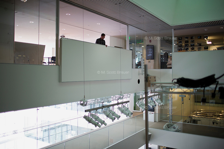 People walk through the MIT Media Lab building at MIT in Cambridge, Massachusetts, USA.