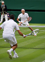 24-06-13, England, London,  AELTC, Wimbledon, Tennis, Wimbledon 2013, Day one, Roger Federer (SUI) vs Victor Hanescu (ROU)<br /> <br /> <br /> <br /> Photo: Henk Koster