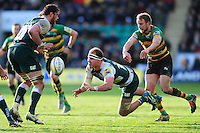 Lachlan McCaffrey of Leicester Tigers passes the ball. Aviva Premiership match, between Northampton Saints and Leicester Tigers on April 16, 2016 at Franklin's Gardens in Northampton, England. Photo by: Patrick Khachfe / JMP