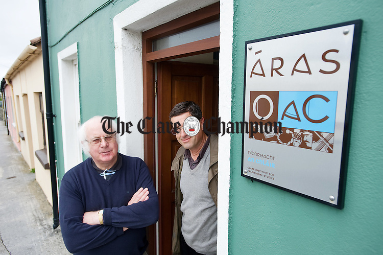 Harry Hughes and Mick Willis, members of Oidhreacht An Chlair at their premises in Miltown Malbay. Photograph by John Kelly.
