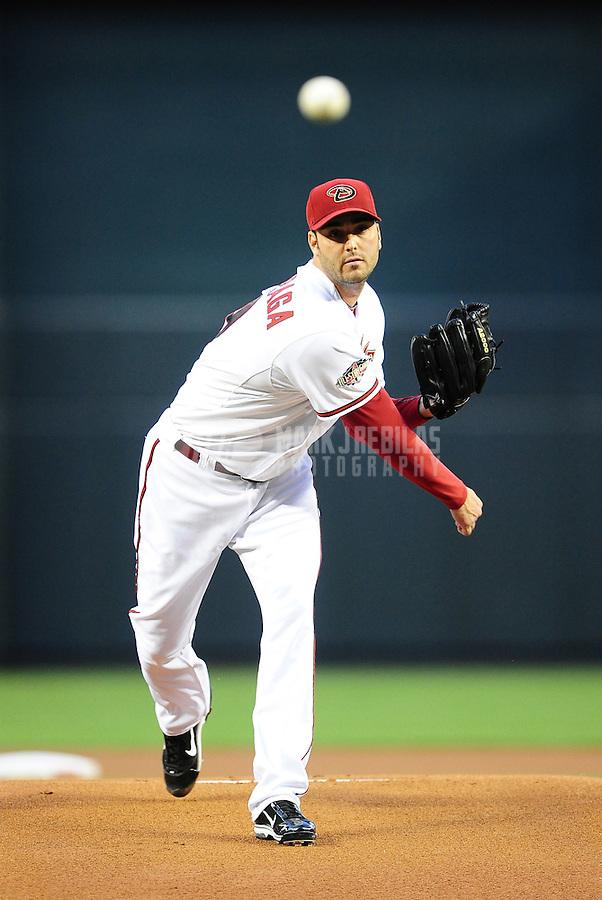 Apr. 12, 2011; Phoenix, AZ, USA; Arizona Diamondbacks pitcher Armando Galarraga against the St. Louis Cardinals at Chase Field. Mandatory Credit: Mark J. Rebilas-