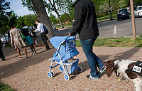 UNITED STATES - APRIL 17:  Barney spots the planted material, hidden in a baby carriage, during an exercise in front of Union Station to find explosives carried by someone mixed in the crowd. Traditional explosive detection dogs have the ability to sniff out static placements of explosives, whereas Vapor Wake dogs can sense the explosives as they are moving, or have moved through an environment as long as 15 minutes past - and then track down where the scent is coming from. This ability makes them perfect for areas with heavy pedestrian traffic - without slowing the traffic flow.