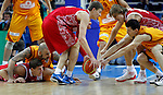 Macedonian and Russian players fights for the ball during  basketball game for third place between Macedonia (FYROM) and Russia in Kaunas, Lithuania, Eurobasket 2011, Friday, September 16, 2011. (photo: Pedja Milosavljevic)