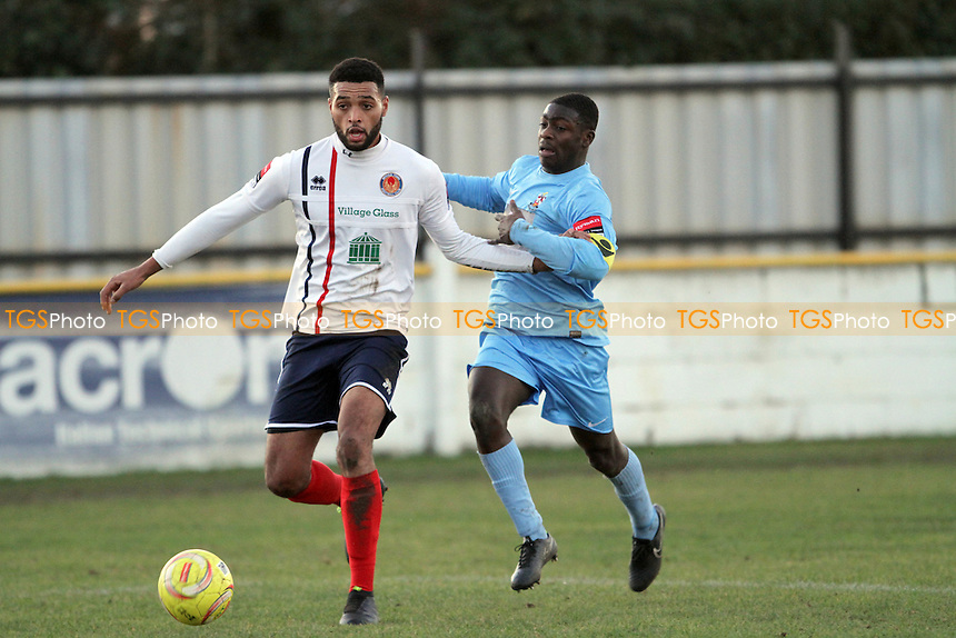 Lance Akins of Witham Town tries to hold off Sam Owusu of Brentwood Town during Witham Town vs Brentwood Town, Ryman League Division 1 North Football at Spa Road on 26th December 2016
