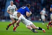 10th February 2019, Twickenham Stadium, London, England; Guinness Six Nations Rugby, England versus France; Dan Robson of England tackles Thomas Ramos of France