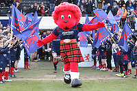 London Scottish mascot, Mac, ahead of the Greene King IPA Championship match between London Scottish Football Club and Jersey at Richmond Athletic Ground, Richmond, United Kingdom on 18 February 2017. Photo by David Horn / PRiME Media Images.