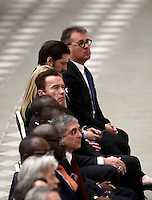L'attore nato in Austria e naturalizzato statunitense, ex Governatore della California, Arnold Schwarzenegger (c) attende l'inizio dell'udienza generale del mercoled&igrave; in aula Paolo VI in Vaticano, 25 gennaio 2017.<br /> Austrian born US actor and former governor of California Arnold Schwarzenegger (fourth from left) attends Pope Francis weekly general audience in Paul VI Hall at the Vatican, on January 25, 2017.<br /> UPDATE IMAGES PRESS/Isabella Bonotto<br /> STRICTLY ONLY FOR EDITORIAL USE