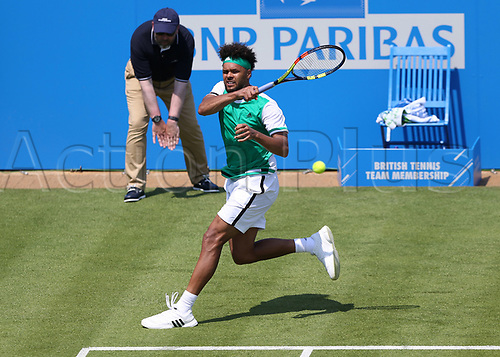 June 19th 2017, Queens Club, West Kensington, London; Aegon Tennis Championships, Day 1; Jo-Wilfried Tsonga of France with a forehand return during his game with Adrian Mannarino