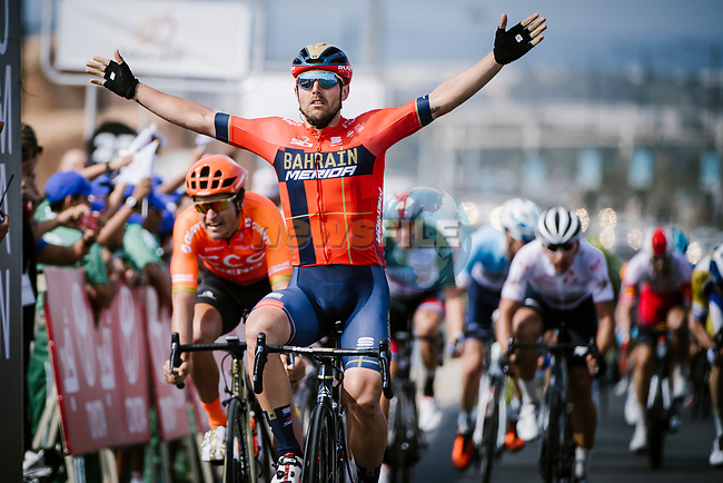 Sonny Colbrelli (ITA) Bahrain-Merida wins Stage 4 of 10th Tour of Oman 2019, running 131km from Yiti (Al Sifah) to Oman Convention and Exhibition Centre, Oman. 19th February 2019.<br /> Picture: ASO/P. Ballet | Cyclefile<br /> All photos usage must carry mandatory copyright credit (© Cyclefile | ASO/P. Ballet)