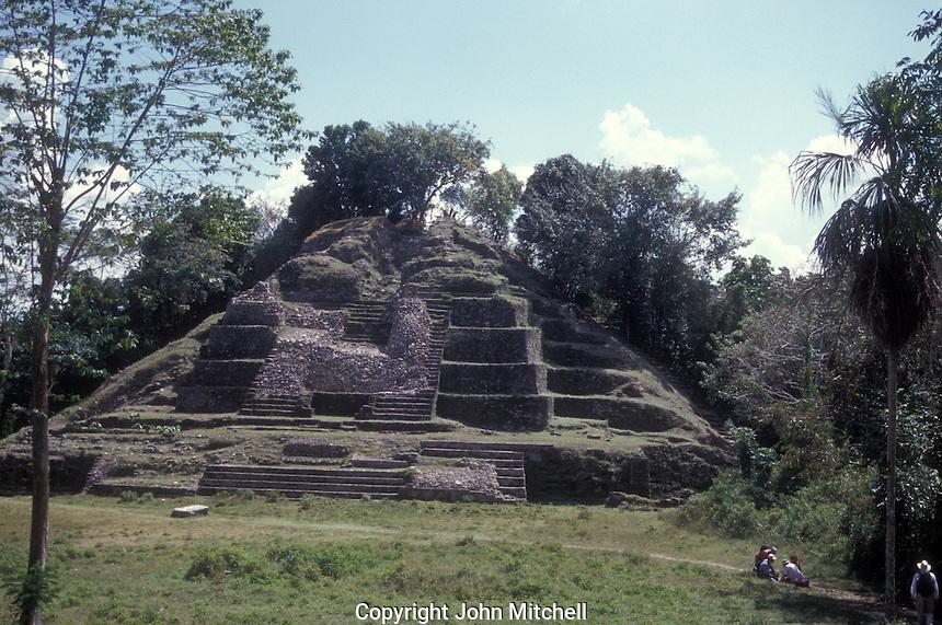 Mayan pyramid at the ruins of Lamanai, Belize