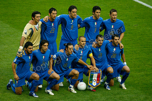 Jul 9, 2006; Berlin, GERMANY; The starting eleven for Italy prior to the match against France in the final of the 2006 FIFA World Cup at the Olympiastadion, Berlin. Front row: midfielder (8) Gennaro Gattuso, midfielder (21) Andrea Pirlo, midfielder (16) Mauro Camoranesi, defender (5) Fabio Cannavaro, defender (19) Gianluca Zambrotta and midfielder (20) Simone Perrotta. Back row: goalkeeper (1) Gianluigi Buffon, defender (23) Marco Materazzi, forward (9) Luca Toni, defender (3) Fabio Grosso and midfielder (10) Francesco Totti. Italy defeated France 5-3 on penalty kicks following a 1-1 draw after extra time to win the World Cup. Mandatory Credit: Ron Scheffler-US PRESSWIRE Copyright © Ron Scheffler