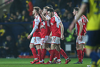 Conor McAleny of Fleetwood Town (left) celebrates with team matesafter he scores the opening goal of the game during the Sky Bet League 1 match between Oxford United and Fleetwood Town at the Kassam Stadium, Oxford, England on 10 April 2018. Photo by David Horn.