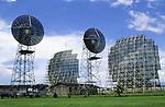 Macapa, Brazil. Communications satellite dishes; Amapa state.