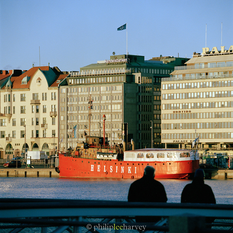 Red boat in Helsinki's harbor, Finland