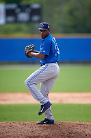 Toronto Blue Jays Yennsy Diaz (13) during a minor league Spring Training game against the Philadelphia Phillies on March 26, 2016 at Englebert Complex in Dunedin, Florida.  (Mike Janes/Four Seam Images)