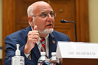 Robert Redfield, director of the Centers for Disease Control and Prevention (CDC), during a House Select Subcommittee on the Coronavirus Crisis hearing in Washington, D.C., U.S., on Friday, July 31, 2020. Trump administration officials are set to defend the federal government's response to the coronavirus crisis at the hearing hosted by a House panel calling for a national plan to contain the virus. <br /> Credit: Kevin Dietsch / Pool via CNP /MediaPunch