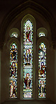 Stained glass window by Kempe 1888 Cricklade church, Wiltshire, England, UK - saints including Saint Sampson