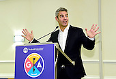 """Andy Cohen, Emmy Award-winning television host and developer of the """"Real Housewives"""" franchise, addresses more than a hundred top Jewish leaders over lunch at an exclusive session during the General Assembly of the Jewish Federations of North America on Sunday, November 13, 2016. Speaking for nearly an hour at the Washington Hilton in Washington, D.C., he spoke at length about his Jewish roots and his new tell-all book """"Superficial: More Adventures from the Andy Cohen Diaries,"""" due out this week. <br /> Credit: Ron Sachs / CNP"""