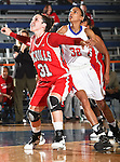 Nicholls State University Colonels forward Cassie Hearon (31) blocks out Texas - Arlington Mavericks forward Shalyn Martin (32) in the game between the UTA Mavericks and the  Nicholls State University Colonels  held at the University of Texas in Arlington's Texas Hall in Arlington, Texas. UTA defeats Nicholls 69 to 62