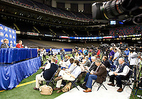 Alabama head coach Nick Saban talks with the reporters during BCS Media Day at Mercedes-Benz Superdome in New Orleans, Louisiana on January 6th, 2012.