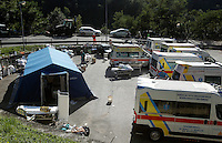 Ambulances and a tent are seen outside of the village of Amatrice, central Italy, hit by a magnitude 6 earthquake at 3,36 am, 24 August 2016.<br /> Una tenda e alcune ambulanze all'esterno dell'ospedale di Amatrice dopo il terremoto magnitudo 6 che alle 3,36 del mattino ha colpito la zona, 24 agosto 2016.<br /> UPDATE IMAGES PRESS/Isabella Bonotto