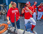 28 February 2017: Washington Nationals first baseman Ryan Zimmerman chats with team VP of Clubhouse Operations & Team Travel Rob McDonald prior to the inaugural Spring Training game between the Washington Nationals and the Houston Astros at the Ballpark of the Palm Beaches in West Palm Beach, Florida. The Nationals defeated the Astros 4-3 in Grapefruit League play. Mandatory Credit: Ed Wolfstein Photo *** RAW (NEF) Image File Available ***