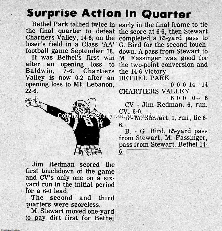 Bethel Park Blackhawks vs Chartiers Valley Colts - 1970.  Tough fought game with it coming down to the last play of the game. 65 yard touchdown pass from Mike Stewart to Gary Biro.