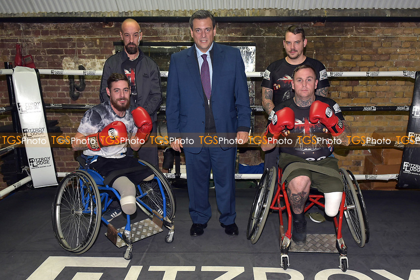 Mauricio Sulaiman, President of the World Boxing Council, meets wheelchair boxers during a Media Event at Fitzroy Lodge Gym on 8th October 2018