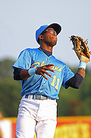 Myrtle Beach Pelicans shortstop Mychal Jones #11 making a catch during a game vs. the Potomac Nationals at BB&T Coastal Field in Myrtle Beach, SC, on June 16, 2010. The Nationals defeated the Pelicans 13-4. Photo By Robert Gurganus/Four Seam Images